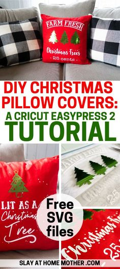 This is by far my favorite EasyPress 2 Project - DIY Christmas pillow covers! Diy Pillow Covers, Diy Pillows, Cushion Covers, Decorative Pillows, Fresh Christmas Trees, Christmas Diy, Christmas Stencils, Christmas Ornaments, Christmas Pillow Covers