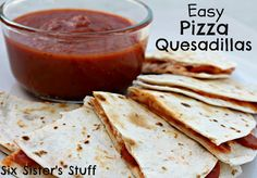 Easy Pizza Quesadillas by Sixsistersstuff.com  #recipe #pizza #tortilla