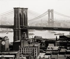 New York Skyline and Harbor with Brooklyn Bridge and Williamsburg Bridge. Photographed by the Detroit Publishing Company in 1903 on glass plate negative in 8x10.