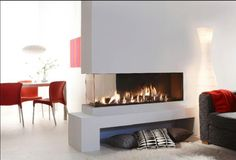 Ultra Mod, oblong, double-sided fireplace