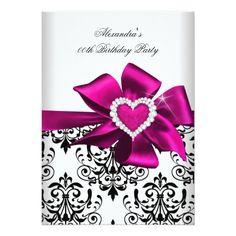 Elegant Damask Pink Heart Jewel Birthday Card