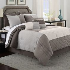 Bring a soft, soothing, and classic look to your bedroom with the Cortez Comforter Set. This set is pieced and quilted in relaxing colors and subtle patterns that will make for a welcoming update to your bedroom. Comforter Sets, Comforters, Spare Bedroom, Buy Bed, King Comforter Sets, Bedding Shop, Bed, Bed Bath And Beyond, Bedding Sets