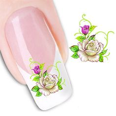 NiceDeco  nail stickers nail tattoo nail deacl water transfers decals black  white flower mesh lace ** Want to know more, click on the image.