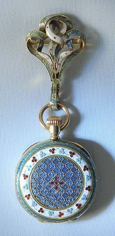 Ulysse Nardin 18K gold, diamond and enamel Art Nouveau ladies antique hunting case pendant watch circa 1890
