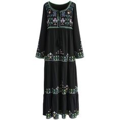 Chicwish Black Prairie Embroidered Maxi Dress
