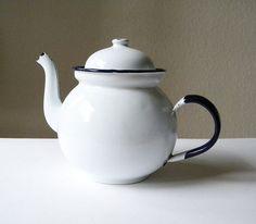vintage white enamel teapot made in Poland.