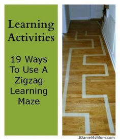 Tape maze on the floor - Gross motor, fine motor, pretend play, math, reading, color identification, language - the possibilities are endless!