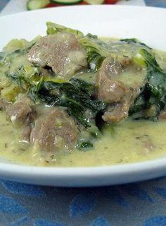 Arni Frikase: Lamb and lettuce (or greens) in egg-lemon sauce Lamb Recipes, Greek Recipes, Meat Recipes, Wine Recipes, Cooking Recipes, Healthy Recipes, Healthy Meals, Pastry Cook, Greek Cooking
