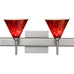 Besa Lighting 2SW-512141-SN-SQ Kani Satin Nickel Two-Light Square Canopy Bath Fixture with Garnet Glass