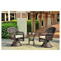 Charleston 3-Piece Wicker Patio Swivel Chair Chat Set