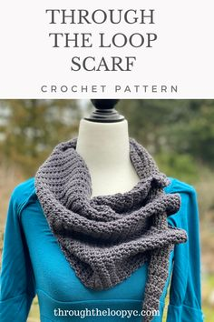 The Through The Loop Scarf crochet pattern is quick and easy to make using basic stitches and decreasing. The perfect scarf for all occassions and seasons. Makes great gifts or a treat for yourself. Scarf Crochet, Cute Crochet, Easy Crochet Patterns, Cowl Patterns, Wrap Pattern, Loop Scarf, Crochet Woman, Crochet Videos, Crochet Accessories