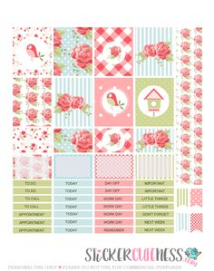 Free Printable Shabby Chic Planner Stickers from StickerCuteness