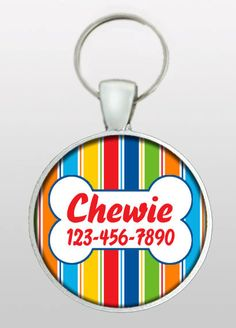 Pet I.D. Tag - Dog Name Tag - Bright Color Dog Tag - Masculine Dog Tag - Gifts for Boy Dogs - Gifts Under 10 - Dog ID Tag - Design No. 241