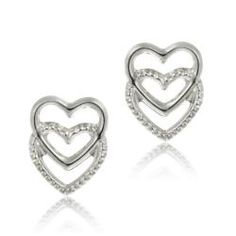 @Overstock - Each of these earrings features both a polished and a ribbed detailed heart. This jewelry is crafted of lustrous 14-karat white gold with butterfly clasps.http://www.overstock.com/Jewelry-Watches/14k-White-Gold-Mini-Double-Heart-Stud-Earrings/5971527/product.html?CID=214117 $33.29