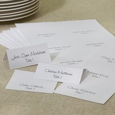 Print-at-home place card kit includes: place cards with a fine pearl border. Easy to follow template instructions are included for do-it-yourself printing.