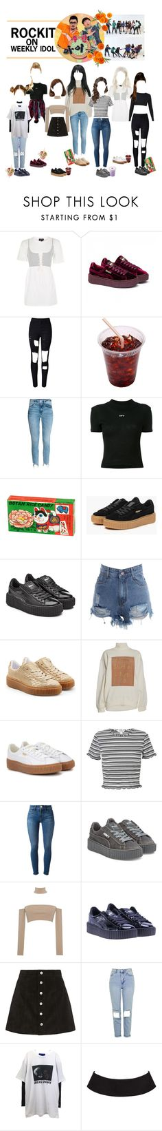"""""""«WEEKLY IDOL» ROCKIT [BLAST OFF DEBUT]"""" by cw-entertainment ❤ liked on Polyvore featuring Topshop, Puma, WithChic, Off-White, sOUP, Acne Studios, Miss Selfridge, Frame, pushBUTTON and AG Adriano Goldschmied"""