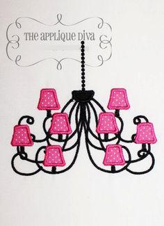 Paris Chandelier Embroidery Design Machine by theappliquediva, $2.99