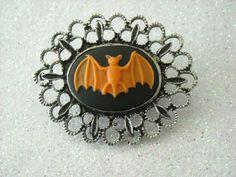 Orange Bat antique silver brooch by OctoberPetals on Etsy, $14.25