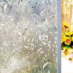 Window Films Privacy Film Decorative Flower Film Sticker for Door Window Glass x No Glue Static Cling Self Adhesive Peel And Stick Heat Control Anti UV- Today's Special Offer! Image 1 of 8 Window Privacy, Privacy Glass, Mirror Stickers, Window Stickers, Flower Film, Flower Window, Window Films, Glass Door, Bath