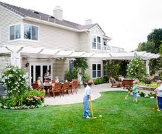 Family-Friendly Backyard -The renovated space features a sweeping rear patio with an entire suite of outdoor rooms that the whole family can enjoy together Large Backyard Landscaping, Backyard Patio Designs, Backyard Pergola, Pergola Ideas, Backyard Ideas, Patio Ideas, Landscaping Ideas, Desert Backyard, Backyard Layout