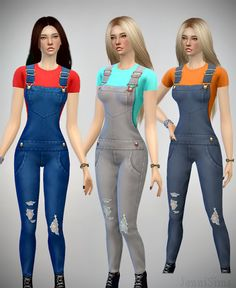 Jennisims: Downloads sims 4: Jeans Overall for the Sims 4