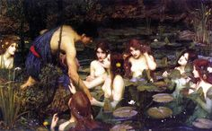 """John William Waterhouse """"Hylas and the Nymphs"""" Oil on canvas Pre-Raphaelite Located in the Manchester Art Gallery, Manchester, England In classical mythology, Hylas was a youth who. John William Waterhouse, Edward Robert Hughes, Pre Raphaelite Paintings, Pre Raphaelite Brotherhood, Dante Gabriel Rossetti, Manchester Art, Manchester England, Art Gallery, Water Nymphs"""