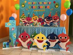 Baby Boy 1st Birthday Party, 3rd Birthday Parties, Baby Party, Birthday Ideas, Shark Party Decorations, 1st Birthdays, Baby Shark, Boo Boos, Shark Room