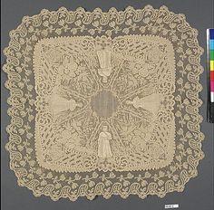 Handkerchief of Belgian Bobbin Lace from 1873