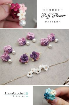 This miniature crochet puff flower is perfect for your bridesmaid gift. You can match the flower with your wedding bouquet. Get the pattern now! Crochet Crafts, Bead Crochet, Crochet Projects, Cute Crochet, Crochet Dolls, Crochet Doll Tutorial, Crochet Motif, Sewing Crafts, Crochet Puff Flower