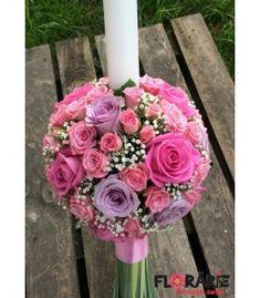 Lumanare botez trandafiri si minirose Terraria, Floral Wreath, Wreaths, Rose, Flowers, Home Decor, Plant, Terrariums, Pink