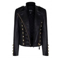Stylish Stand Collar Long Sleeve Studded Faux Leather Women's Black Jacket