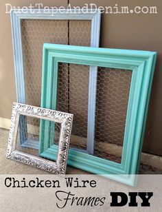 How to make chicken wire frames to display jewelry or use as a memo board. A quick easy DIY painting project!  | DuctTapeAndDenim.com
