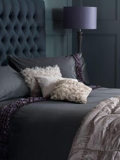 Dark Moody Bedroom + Tufted Headboard