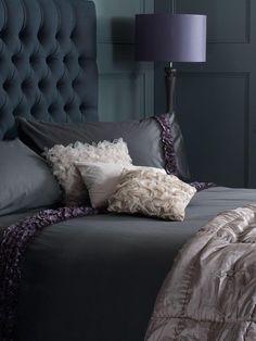 Dark Moody Bedroom + Tufted Headboard
