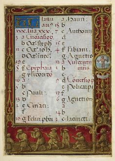 From the Medieval and Earlier Manuscripts blog post ' A Calendar Page for January 2013'