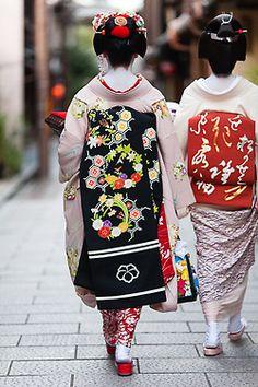 October obi (Maiko Ichitomi and Geiko Ichiwaka, Gion Kobu)