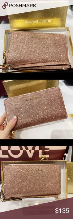 b1bf58c52fde Michael Kors phone wristlet Rose Gold Glitter Zipper Closure 6 card ID zip  coin compartment 1 phone pocket fits iPhone 8 plus (with a thin a case) L x  H x W ...
