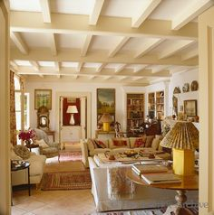 Living room with corner library ~ View of a stylish comfortable living room with a terracotta tiled floor