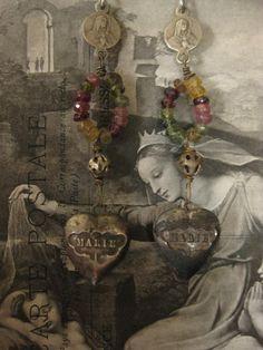 Marie - antique French heart lockets gemstone religious dangle earrings