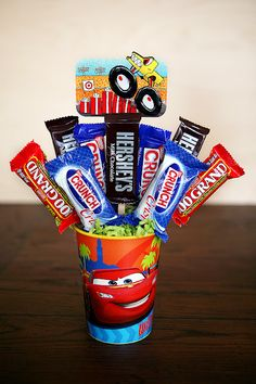 Here's a fun gift for that hard to buy for someone.   a candy bouquet.   you can cater these to men, women and children of all ages.  they also make a really fun way to give a gift card!