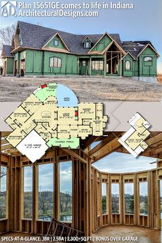 Architectural Designs House Plan under construction in Indiana. This popular rugged Craftsman home gives you 3 beds baths and over 2300 sq. of heated living space and loads of options. Craftsman Home Decor, Murphy Bed Plans, Gable Roof, Hip Roof, Open Space Living, Architectural Design House Plans, Country House Plans, House Floor Plans, My Dream Home