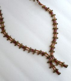 Vintage Safety Pin and Bead Necklace - Orange beads, gold safety pins