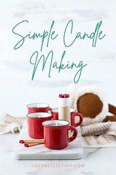 Make a handful of peppermint candles in a mug a DIY candle gift to warm hearts for Valentine's Day, Christmas, or just because during the winter season. Fun Diy Crafts, Diy Craft Projects, Crafts To Make, Homemade Candles, Diy Candles, Weekend Crafts, Valentine Crafts, Candle Making, Diy Paper