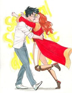 Harry looked around; there was Ginny running towards him; she had a hard, blazing look in her face as she threw her arms around him. And without even thinking, without planning it, without worrying about the fact that fifty people were watching, Harry kissed her. After several long moments — or it might have been half an hour — or possibly several sunlit days — they broke apart. The room had gone very quiet. Then several people wolf-whistled and there was an outbreak of nervous giggling.