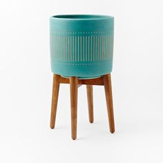 Turned Wood Leg Standing Planter, Tall, Turquoise