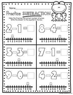 SUBTRACTION -kindergarten worksheets how to subtract - number lines subtraction #kindergarten #kindergartenmath #mathjournals #math Subtraction Kindergarten, Numbers Kindergarten, Kindergarten Worksheets, Subtraction Activities, Preschool Math, Numeracy, Classroom Activities, Number Line Subtraction, Addition And Subtraction Worksheets