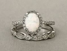 White Opal Art Deco Simulated Diamond Engagement Set Sterling