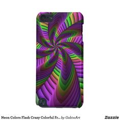 Neon Colors Flash Crazy Colorful Fractal Pattern iPod Touch 5G Cover