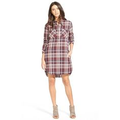 Treasure&Bond Popover Plaid Shirtdress (52.930 CLP) ❤ liked on Polyvore featuring dresses, burgundy stem burgundy plaid, long shirt dress, burgundy dress, print dress, shirt-dress and net dress