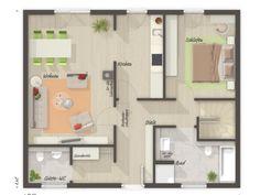 Massivhaus BUNGALOW 78 modern mit Walmdach - | HausbauDirekt.de Town Country Haus, Planer, Floor Plans, Modern, Case, House Construction Plan, Dream House Plans, Hip Roof, Guest Toilet